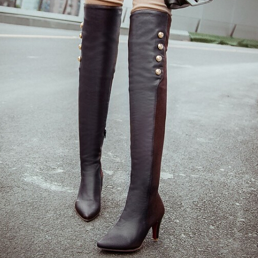 pointed toe high heel Tight stretch over the knee boots 2015 new fashion sexy thin heel shoes<br><br>Aliexpress