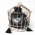 2016 Women unique Prom bags brand fashion Stylish metal hook flower embroidery hoop cage handbag novelty
