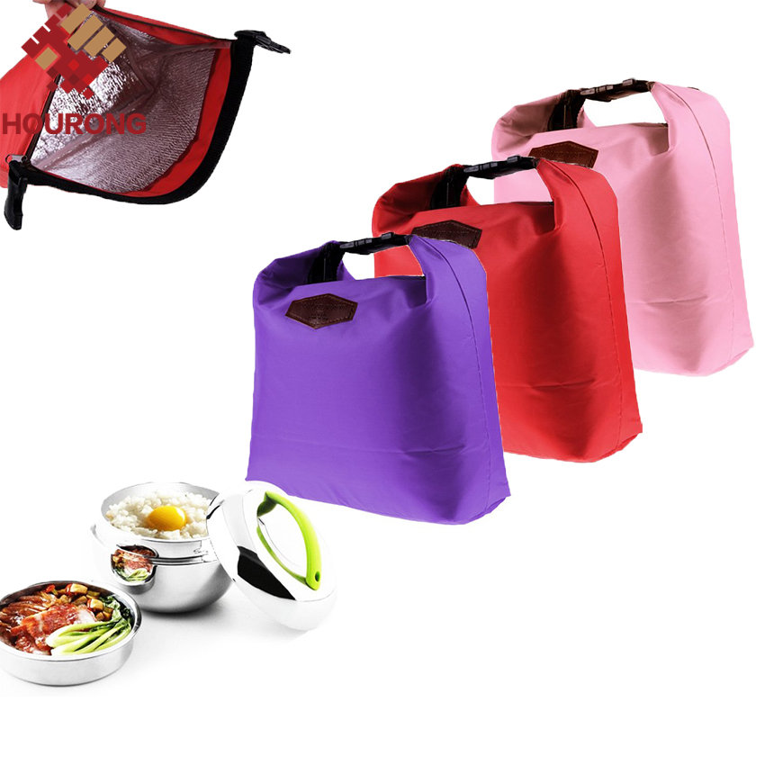 1 Pcs 27.5*25*9.5cm Thermal Cooler Insulated Lunch Bag Waterproof Lunch Carry Nylon Lunch Bag For Office For Tour(China (Mainland))