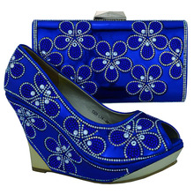 Royal Blue African Dress Shoes And Matching Bags Italian 2016 Most Popular High Heel Matching Ladies Shoe And Bag Set 1308-L74(China (Mainland))