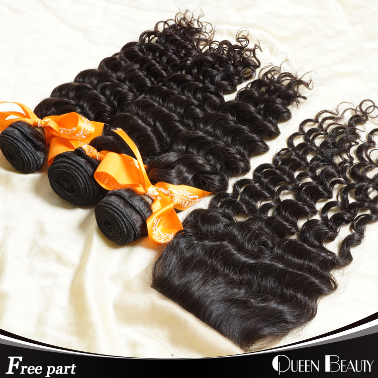 """1 Piece Lace Closure with 3Pcs Hair Bundles malaysian curly hair Weave,4pcs/lot 12-30"""" Free shipping by DHL(China (Mainland))"""
