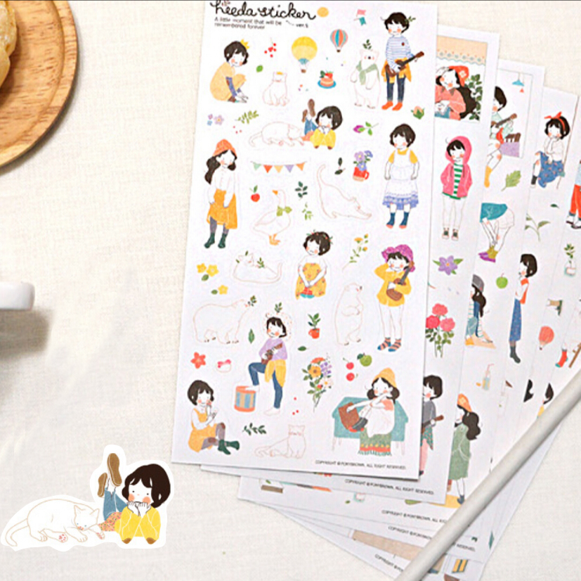 20 Packs / lot  Funny  Korea Forest Sweet girl series PVC Ransparent Decorative Stickers set/Decoration label/Phone aticker<br><br>Aliexpress