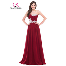 Grace Karin 2016 Long Evening Dresses Sequins Pink Dark Red Elegant Sweetheart Special Occasion Dress Formal Gown Evening Dress(China (Mainland))