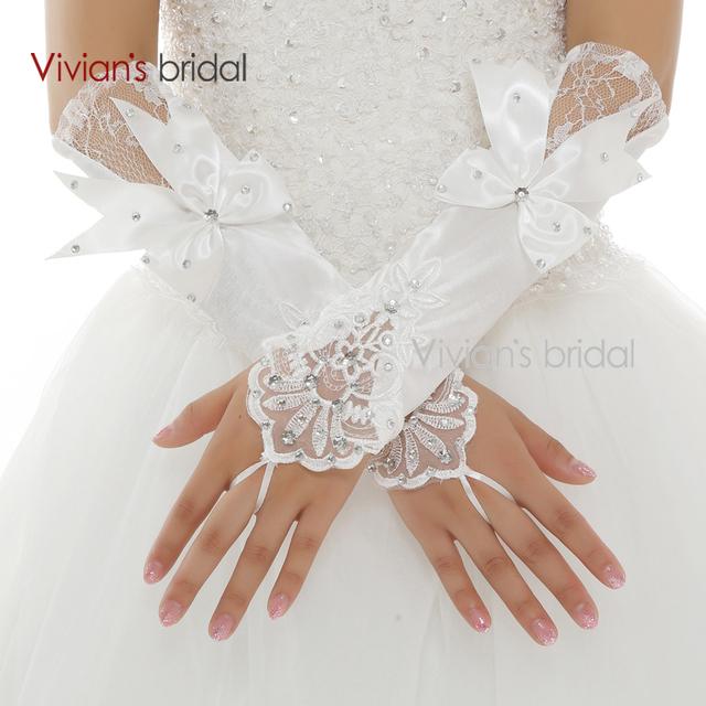 Вивиан свадебные горячая распродажа 2015 пальцев бисера с бантом пятен запястье длина ...