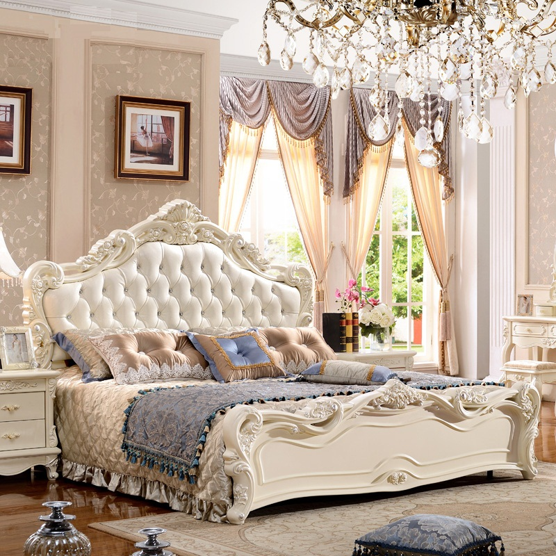 European royal style queen king size beds 1 8 meter double for Lit queen size