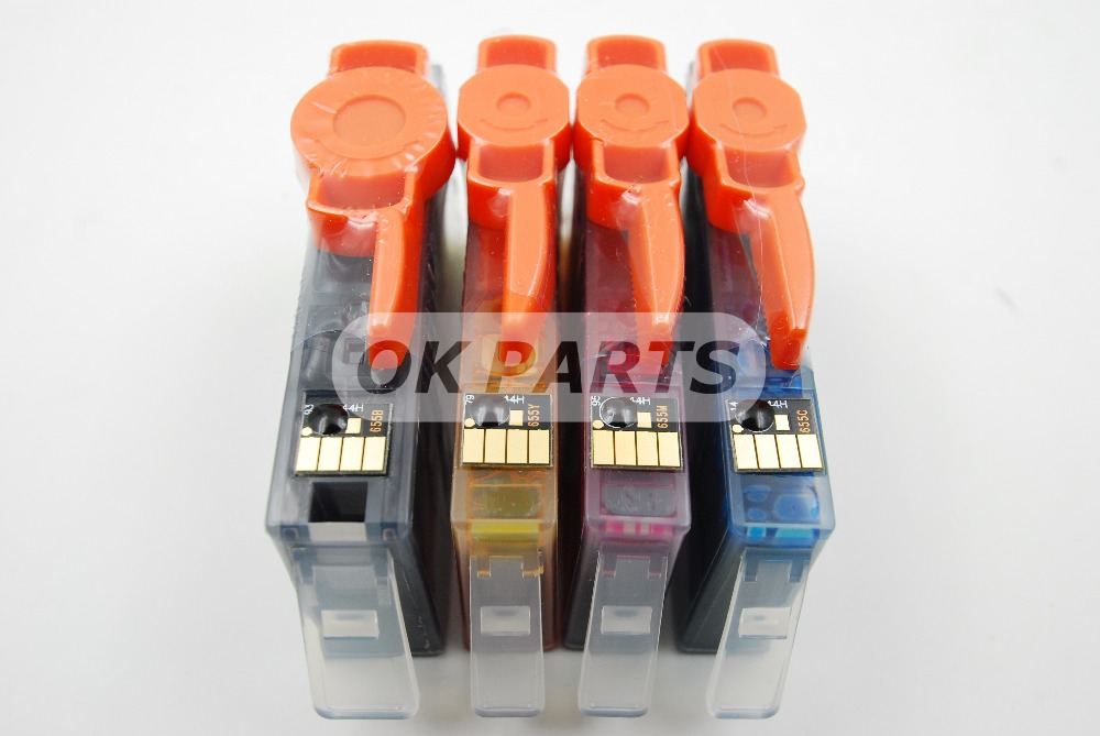 4PCS HP 655 HP655 C M Y BK Ink Cartridge with chip Full ink for HP