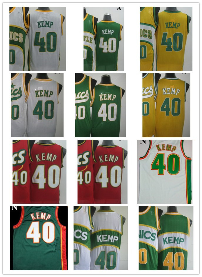 2014 NWT Super #40 Shawn Kemp Jersey Throwback White Yellow Green 1995 All Star Stitched Best Basketball Jersey Shop(China (Mainland))