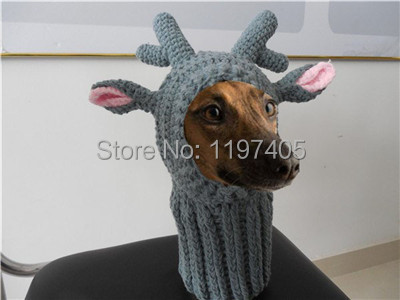 Knitting Pattern Hat Dog : free shipping factory supply crochet knit cotton pet dog hat reindeer pet dog...
