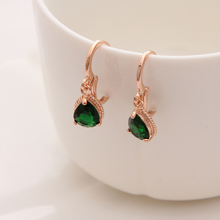 Green Color long crystal drop earrings for women vintage Drop style 18K Gold plated fine jewelry wedding accessories hot(China (Mainland))