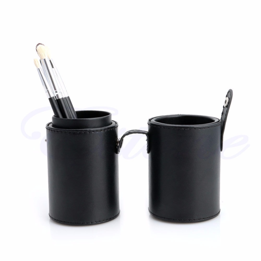 Black Leather Storage Empty Holder Cosmetic Cup Case Box For Makeup Brush Pen<br><br>Aliexpress