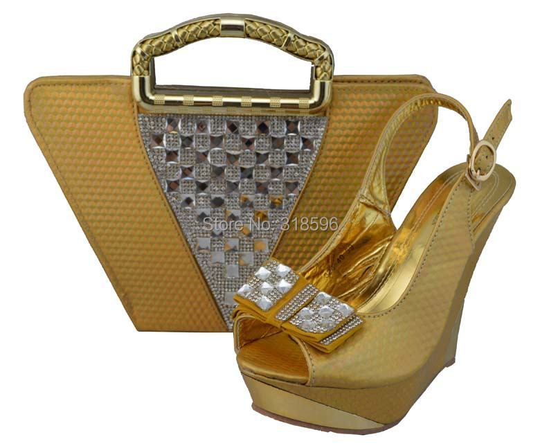 gold women shoes and bag set, party dress shoes and bag to match with free shipping by DHL(China (Mainland))