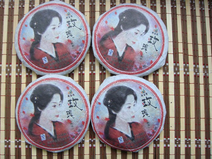 4pcs Rose Flavour Puer Tea taotal 400g 4x100g Puerh A2PC44 Free Shipping