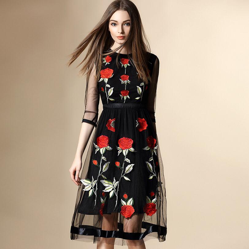 Women Midi Dresses 2016 Summer Casual Long Black Half Sleeve O-Neck Floral Embroidery Mesh Beach Wear Organza Lace Chiffon Dress