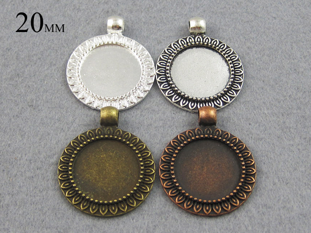 20mm SunFlower Pendant Tray, 20mm Cabochon Setting , Silver Pendant Tray Blank Bezel(China (Mainland))