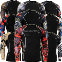 Fixgear CPD Fashion Prints Men's Fitness Training Running Compression Base Layer Tights Long Sleeve Shirts Tops