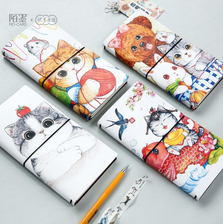 The AFU Cat PU Leather Cover Planner Notebook Diary Book Exercise Composition Binding Note Notepad Gift Stationery(China (Mainland))