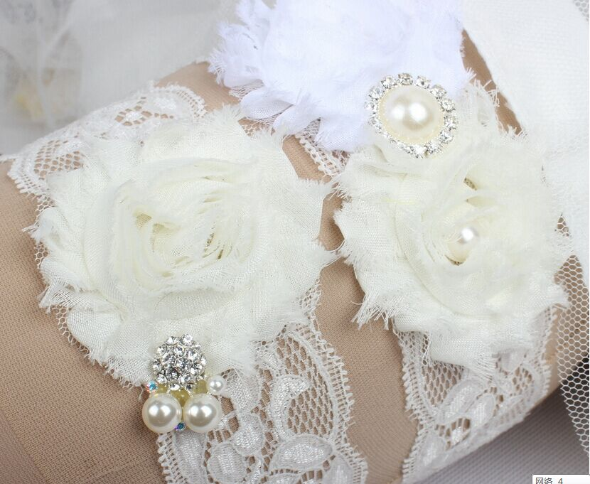 1 Set Vintage Bridal Lace Garter Set for Women Wedding Toss Garter included Ivory with Rhinestones