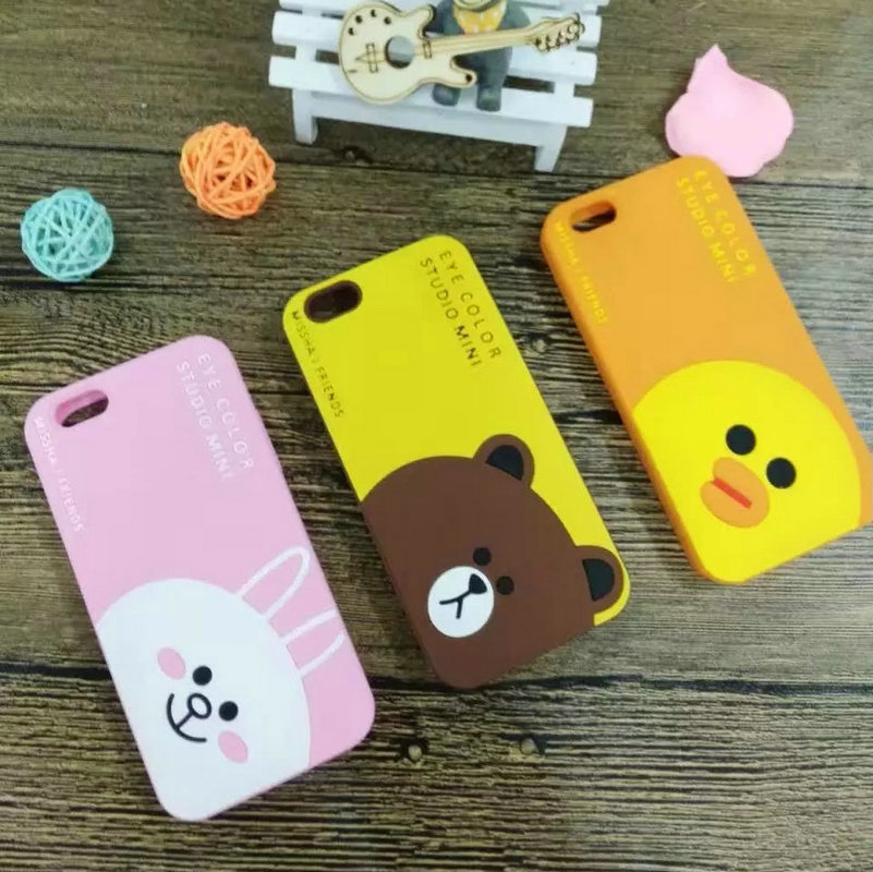New Hot Brown Bear Case for Apple iPhone 5 5S 6 6S Plus 6plus Cartoon Soft Silicone Shell Fashion Mobile Phone Cover for Lady(China (Mainland))