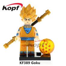 Única Venda Super Heróis Figuras De Dragon Ball Z Goku Garoto Negro SSJ3 Celular Perfeito Bricks Blocos Crianças Brinquedos de Presente KF985(China)