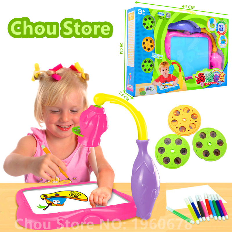 2016 New Drawing Board Electronic Kids Toy Projector Light Glow Sketchpad Films Water Painting Pen Booklet Baby Educational Toys(China (Mainland))