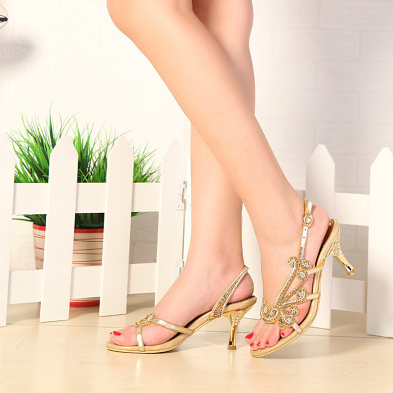 New fashion wedding shoes summer high heel dress shoes prom party bridal sandals genuine leather gold crystal sandals for women<br><br>Aliexpress