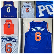 Kristaps Porzingis Jerseys, Stitched 2015 2016 New York #6 Kristaps Porzingis Christmas Day Blue White Orange Basketball Jerseys(China (Mainland))