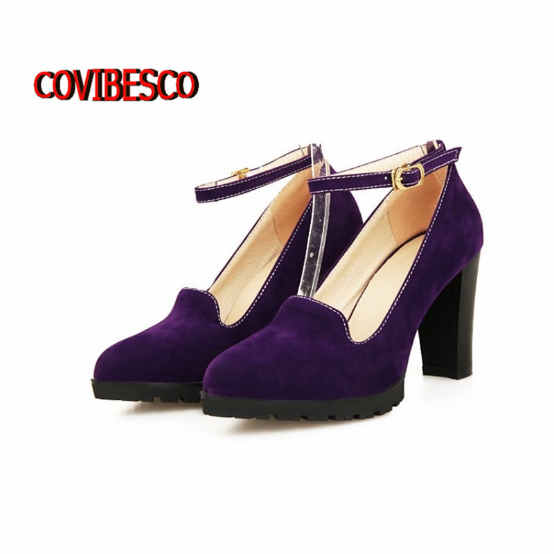 Retro vintage Womens Platform High Heels Chunky Heeled Pumps Spring Elegant buckle Ladies Party Shoes Wholesales plus size34-43(China (Mainland))