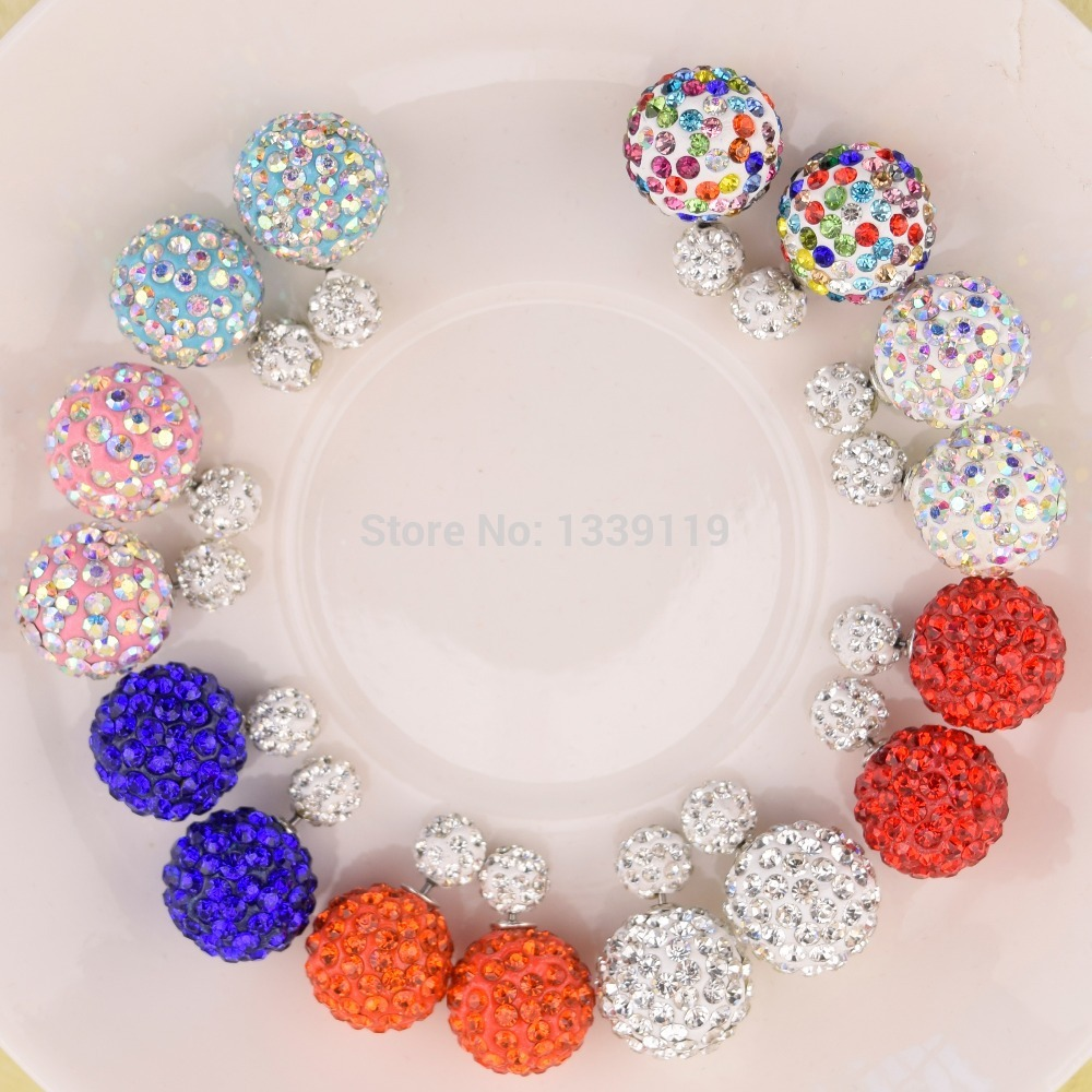 2015 Free Shipping 11 Colors 16MM Shamballa Brand Earrings Ball Shamballa Crystal Stud Earrings For Women Fashion Jewelry(China (Mainland))