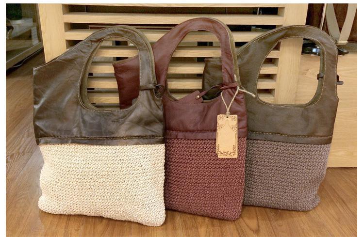 2015 Women's shoulder bags hand woven bag linen+genuine leather handbags Girls Shoulder Bag women casual bags free shipping(China (Mainland))