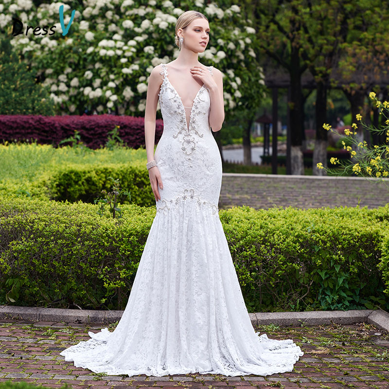 Dressv 2016 white lace long mermaid sexy backless wedding dress beading V-Neck court train sleeveless wedding dress bridal gown(China (Mainland))