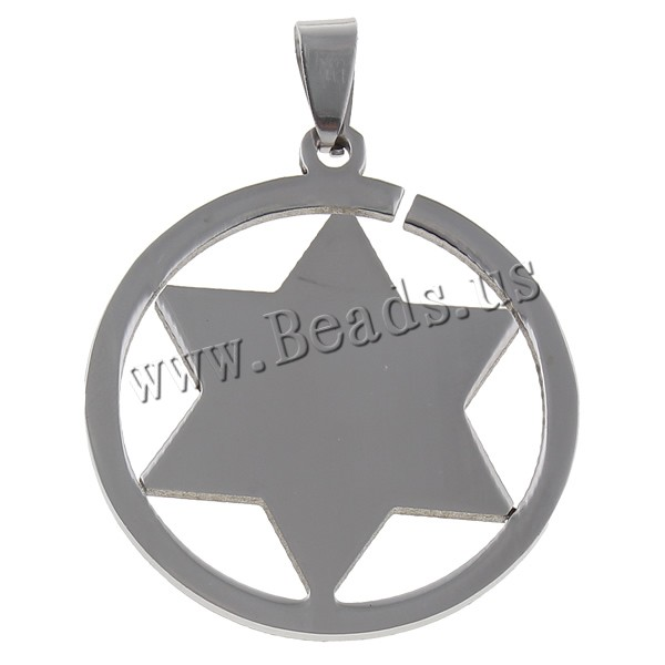 Free shipping!!!Stainless Steel Pendants,chinese style, Flat Round, Jewish Jewelry & with star of David pattern, oril color(China (Mainland))