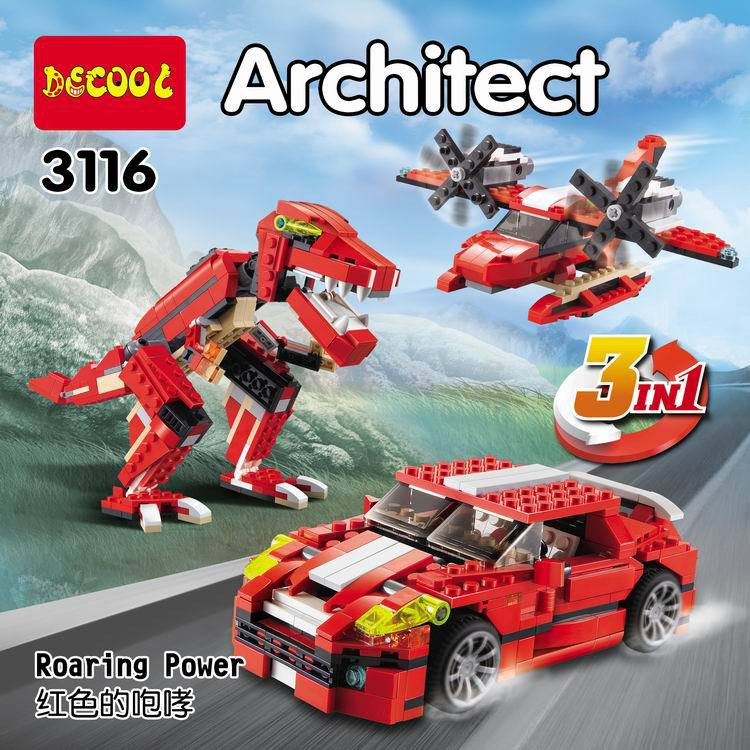 DECOOL City Architect 3 in 1 Creator Roaring Power Building Blocks Bricks Model Kids Toys Marvel  Compatible Legoe