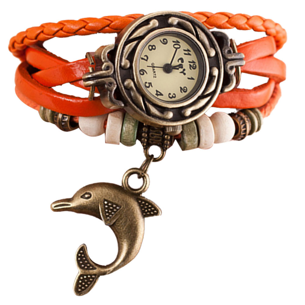Montre Femme 2016 Vintage Дельфин Кулон женщин Браслет Кварцевые Часы Женские Наручные Часы Женские Часы Relogio женщина для