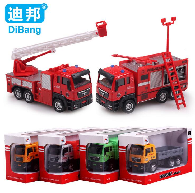 1:55 Alloy Car Models Construction Vehicles Toy Fire Truck / Rubbish Truck / Dump Truck Betst Christmas/Birthday Gift(China (Mainland))