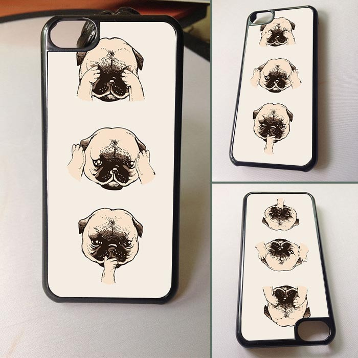No Evil Pug Custom made Print Cool Cell Phones Cover case for Iphone 5c hard plastic case(China (Mainland))