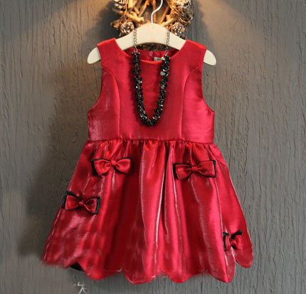 ()- 2015 AUTUMN bow princess sleevless dress child girl