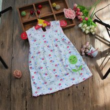 Monkids Summer Baby Girl Sleeveless Dress Princess Dot Newborn Striped Dresses Baby Girls Clothes with Animal Floral Cutton(China (Mainland))