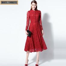 runway dress European new spring and summer 2016 women slim long sleeved lace dress big swing long