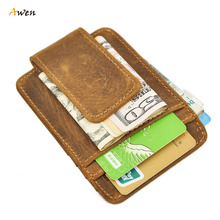 Awen - Luxury Brand 100% Genuine Crazy Horse Leather Money Clips Billfold Thin Short Wallet Business Card Bag Magnet Clip Wallet(China (Mainland))