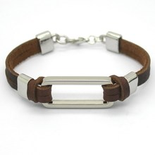 2015 Fashion zinc stainless steel leather men's Bracelets men tide accessories armband bracelets