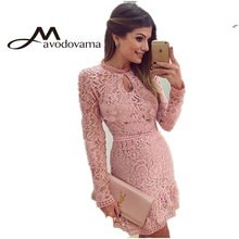 2015 New Fashion Women Casual Lace Dress  O-Neck Sleeve Pink Vestidos Sexy Evening Party Dresses Vestido de festa Brasil Trend