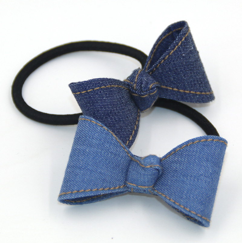 New Classic Blue Jean Cowboy Bowknot Elastic Hair Bands Denim Ponytail Holder Student Chirldren Girls Women Barrette Accessories(China (Mainland))