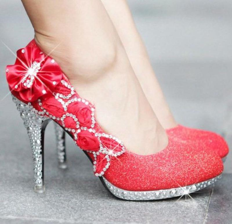 2014 New Luxury Sexy High Heels Silver High Heels Red Rhinestone Flowers Marriage Shoes Gold Bridal Shoes Glitter Sale on RL1271(China (Mainland))