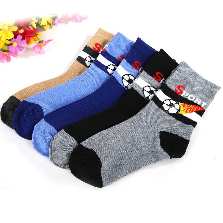 5 pair /1 lot spring & autumn kids socks cotton Football sock children socks for boys 1-9 year baby socks(China (Mainland))