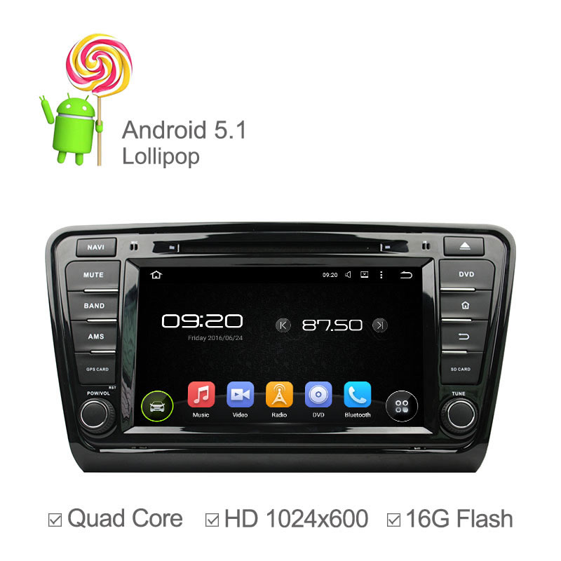 1024*600 Quad Core Android 5.1 Car DVD Player For Skoda Octavia A7 2014 2015 Radio Video GPS Navigation Wifi 16GB Nand Ipod(China (Mainland))