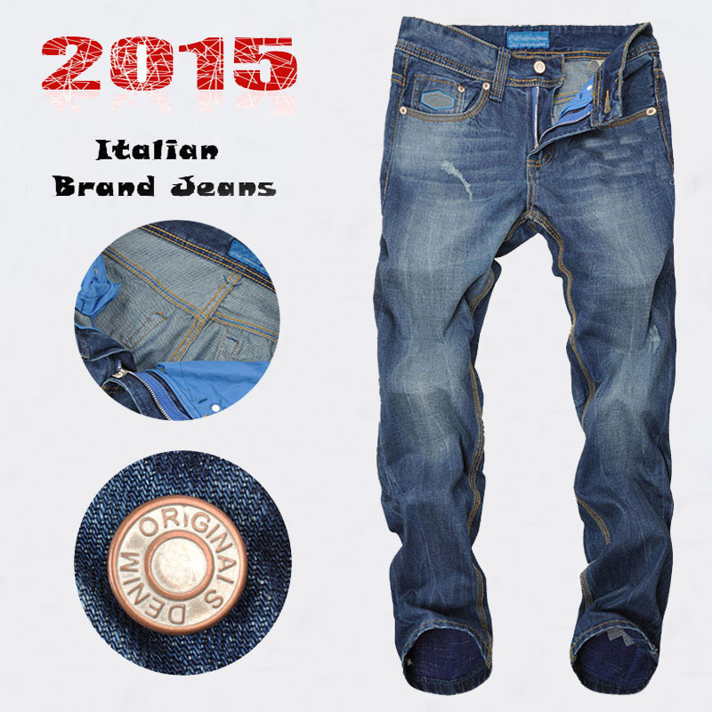 2015 New famous Brand Mens Jeans High QUality Blue Color Printed Jeans For Men Ripped Jeans AD Brand Bike Jeans Men,B8018Одежда и ак�е��уары<br><br><br>Aliexpress