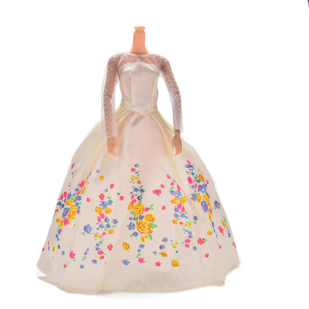 Print Doll Dress Handmake Wedding Dress Fashion Clothing Gown For Barbie White Lace Flower Doll Clothes Dolls Accessories(China (Mainland))