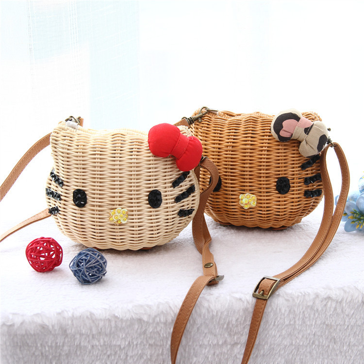 2015 new arrival hello kitty crossbody bags for women casual straw shoulder bags vintage lady messenger bags 3d cat mini bag(China (Mainland))