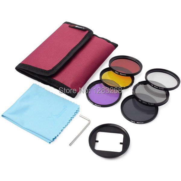 52mm Filters Kit ND Filter + UV Filter + CPL Yellow Purple Red Color Circular Polarizer Lens For GoPro Hero 3 +/ Hero 3Plus(China (Mainland))
