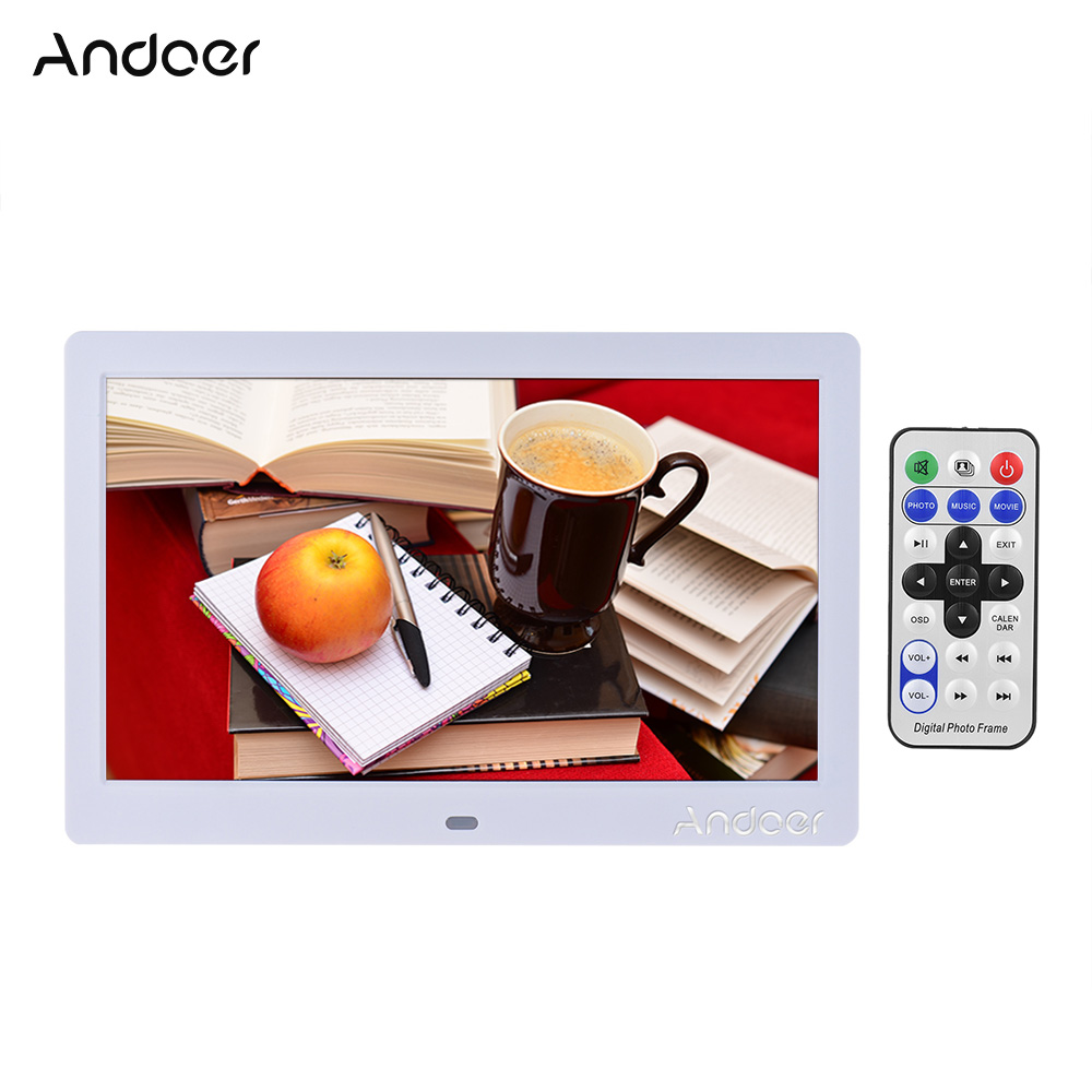 "Andoer 10"" HD Wide Screen LCD Digital Photo Frame High Resolution Picture Frame Clock MP3 MP4 Video Player with Remote Control(China (Mainland))"